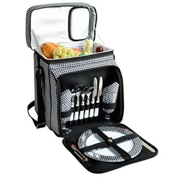 Picknick at Ascot Isolierter Picknickkorb/Kühler, komplett ausgestattet mit Service für 2 Personen, Blumenmuster 2 Person Houndstooth - 1