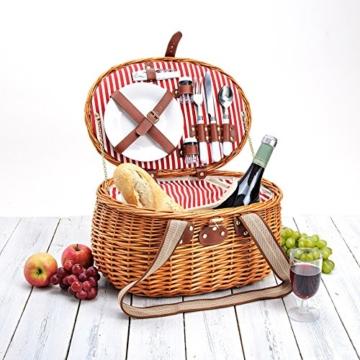 Picknickkorb für 2 Personen aus Weide - 15tlg. - Mit Kühlfach für das perfekte Essen zu 2. - Weiden Picknickkorb mit Deckel, Geschirr Set - Rot Weiß gestreift - 2