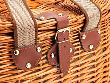 Picknickkorb für 2 Personen aus Weide - 15tlg. - Mit Kühlfach für das perfekte Essen zu 2. - Weiden Picknickkorb mit Deckel, Geschirr Set - Rot Weiß gestreift - 3