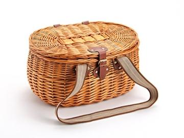 Picknickkorb für 2 Personen aus Weide - 15tlg. - Mit Kühlfach für das perfekte Essen zu 2. - Weiden Picknickkorb mit Deckel, Geschirr Set - Rot Weiß gestreift - 4