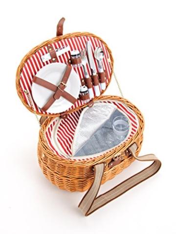 Picknickkorb für 2 Personen aus Weide - 15tlg. - Mit Kühlfach für das perfekte Essen zu 2. - Weiden Picknickkorb mit Deckel, Geschirr Set - Rot Weiß gestreift - 1