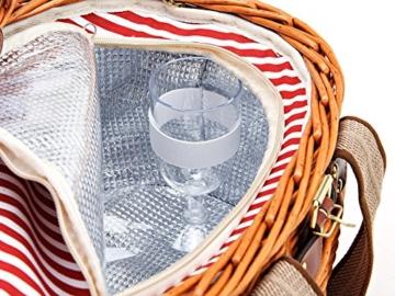 Picknickkorb für 2 Personen aus Weide - 15tlg. - Mit Kühlfach für das perfekte Essen zu 2. - Weiden Picknickkorb mit Deckel, Geschirr Set - Rot Weiß gestreift - 5