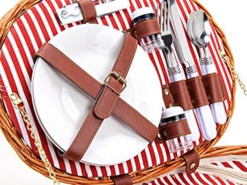 Picknickkorb für 2 Personen aus Weide - 15tlg. - Mit Kühlfach für das perfekte Essen zu 2. - Weiden Picknickkorb mit Deckel, Geschirr Set - Rot Weiß gestreift - 6