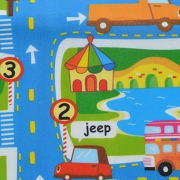 Pink Papaya XXL Spiel-Teppich für Kinder, isolierte wasserfeste Picknickdecke inkl. Tasche, 160 x 180 cm Straßenteppich City, Stadt mit Feuerwehr Polizei für Jungen und Mädchen - 2