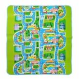 Pink Papaya XXL Spiel-Teppich für Kinder, isolierte wasserfeste Picknickdecke inkl. Tasche, 160 x 180 cm Straßenteppich City, Stadt mit Feuerwehr Polizei für Jungen und Mädchen - 1