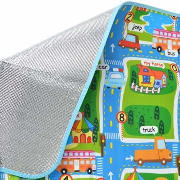 Pink Papaya XXL Spiel-Teppich für Kinder, isolierte wasserfeste Picknickdecke inkl. Tasche, 160 x 180 cm Straßenteppich City, Stadt mit Feuerwehr Polizei für Jungen und Mädchen - 5