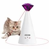 Pixnor Haustier-Spielzeug für Katzen, automatisches Katzenspielzeug, drehbar, mit Schnapp-Training, 3 Geschwindigkeiten, automatische Ruhezeit, schöne Diamantform - 1