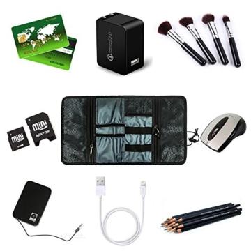 ProCase Travel Gear Organizer Elektronik Zubehör Tasche, Kleine Gadget Tragetasche Aufbewahrungstasche Tasche für Ladegerät USB Kabel SD Speicherkarten Kopfhörer Flash Hard Drive -Rot - 2