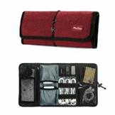 ProCase Travel Gear Organizer Elektronik Zubehör Tasche, Kleine Gadget Tragetasche Aufbewahrungstasche Tasche für Ladegerät USB Kabel SD Speicherkarten Kopfhörer Flash Hard Drive -Rot - 1