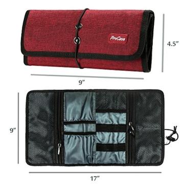 ProCase Travel Gear Organizer Elektronik Zubehör Tasche, Kleine Gadget Tragetasche Aufbewahrungstasche Tasche für Ladegerät USB Kabel SD Speicherkarten Kopfhörer Flash Hard Drive -Rot - 3