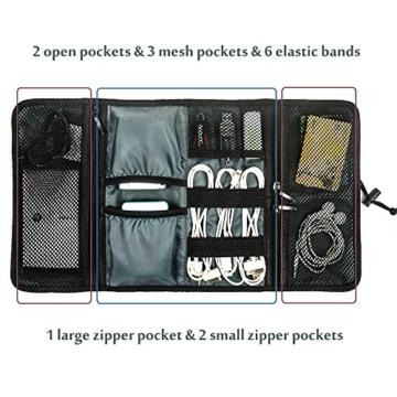 ProCase Travel Gear Organizer Elektronik Zubehör Tasche, Kleine Gadget Tragetasche Aufbewahrungstasche Tasche für Ladegerät USB Kabel SD Speicherkarten Kopfhörer Flash Hard Drive -Rot - 4