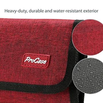 ProCase Travel Gear Organizer Elektronik Zubehör Tasche, Kleine Gadget Tragetasche Aufbewahrungstasche Tasche für Ladegerät USB Kabel SD Speicherkarten Kopfhörer Flash Hard Drive -Rot - 5