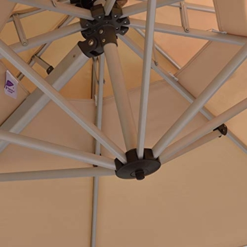 PURPLE LEAF 300 X 300 cm Sonnenschirm Gartenschirm Kurbelschirm Ampelschirm Terrassenschirm, Beige - 5