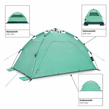 Qeedo Quick Palm Strandmuschel mit UV Schutz (UV80), kleines Packmaß, Sonnenschutz mit Quick-Up System - Mint - 5