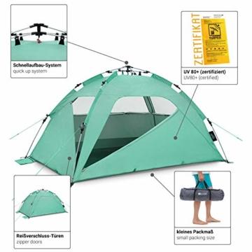 Qeedo Quick Palm Strandmuschel mit UV Schutz (UV80), kleines Packmaß, Sonnenschutz mit Quick-Up System - Mint - 6