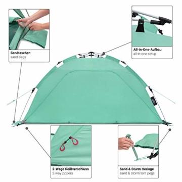 Qeedo Quick Palm Strandmuschel mit UV Schutz (UV80), kleines Packmaß, Sonnenschutz mit Quick-Up System - Mint - 8