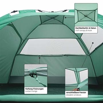 Qeedo Quick Palm Strandmuschel mit UV Schutz (UV80), kleines Packmaß, Sonnenschutz mit Quick-Up System - Mint - 9