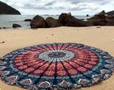 raajsee Indien Strandtuch Rund Mandala Hippie/Groß Indisch Rundes Baumwolle/Boho Runder Yoga Matte Tuch Meditation/Tischdecke Rund aufhänger Decke Picknick Teppich 70 inch (Blaue orange Mandala) - 1