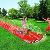 Rasen Wasserrutschen, Slip Slide Play Center Mit Spritzsprinkler Und Aufblasbarem Crash Pad Für Kinder Sommer Hinterhof Schwimmbad Spiele Outdoor Wasserspielzeug Hinterhof Wasserrutsche Sprühsprinkler - 1