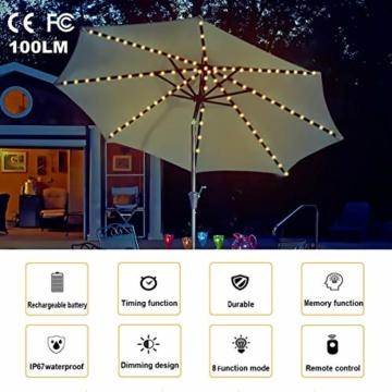 Regenschirm Lichterkette B-right Lichterkette für Sonnenschirm Sonnenschirmbeleuchtung LED Lichtbänder mit Fernbedienung, wiederaufladbare Batterie, 104LED, für Schirmdekoration, Campingzelte. - 2