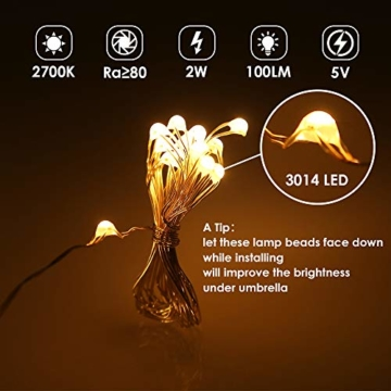 Regenschirm Lichterkette B-right Lichterkette für Sonnenschirm Sonnenschirmbeleuchtung LED Lichtbänder mit Fernbedienung, wiederaufladbare Batterie, 104LED, für Schirmdekoration, Campingzelte. - 3
