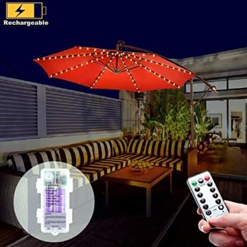 Regenschirm Lichterkette B-right Lichterkette für Sonnenschirm Sonnenschirmbeleuchtung LED Lichtbänder mit Fernbedienung, wiederaufladbare Batterie, 104LED, für Schirmdekoration, Campingzelte. - 1