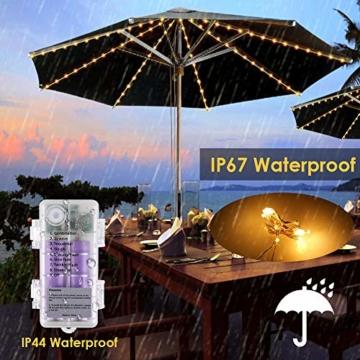 Regenschirm Lichterkette B-right Lichterkette für Sonnenschirm Sonnenschirmbeleuchtung LED Lichtbänder mit Fernbedienung, wiederaufladbare Batterie, 104LED, für Schirmdekoration, Campingzelte. - 6