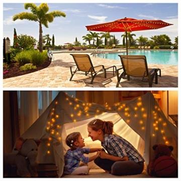 Regenschirm Lichterkette B-right Lichterkette für Sonnenschirm Sonnenschirmbeleuchtung LED Lichtbänder mit Fernbedienung, wiederaufladbare Batterie, 104LED, für Schirmdekoration, Campingzelte. - 8