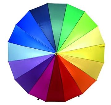 Regenschirm Regenbogen Partnerschirm Stockschirm Golfschirm Schirm bunt XL 131cm - 2