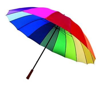 Regenschirm Regenbogen Partnerschirm Stockschirm Golfschirm Schirm bunt XL 131cm - 1