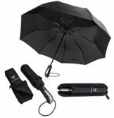 Regenschirm Schirm Taschenschirm Umbrella Trekkingschirm Wanderregenschirm Sturmfest Herren, windfest 150 km/h wasserabweisend Teflon-Beschichtung klein leicht transparent 95 cm schwarz TRAVANDO - 1