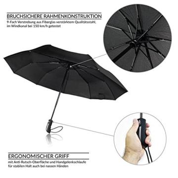 Regenschirm Schirm Taschenschirm Umbrella Trekkingschirm Wanderregenschirm Sturmfest Herren, windfest 150 km/h wasserabweisend Teflon-Beschichtung klein leicht transparent 95 cm schwarz TRAVANDO - 4