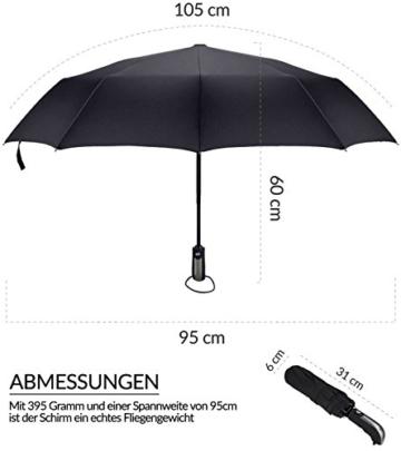 Regenschirm Schirm Taschenschirm Umbrella Trekkingschirm Wanderregenschirm Sturmfest Herren, windfest 150 km/h wasserabweisend Teflon-Beschichtung klein leicht transparent 95 cm schwarz TRAVANDO - 5
