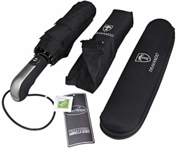 Regenschirm Schirm Taschenschirm Umbrella Trekkingschirm Wanderregenschirm Sturmfest Herren, windfest 150 km/h wasserabweisend Teflon-Beschichtung klein leicht transparent 95 cm schwarz TRAVANDO - 6