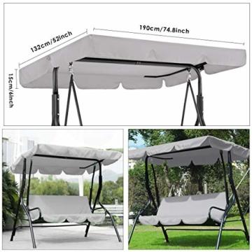 Rehomy Terrassenschaukel-Set, solide, wasserdicht, regendicht, Abdeckung für Hollywoodschaukel und Hollywoodschaukel, Staubschutz, Ersatz für 2- und 3-Sitzer-Größen - 7