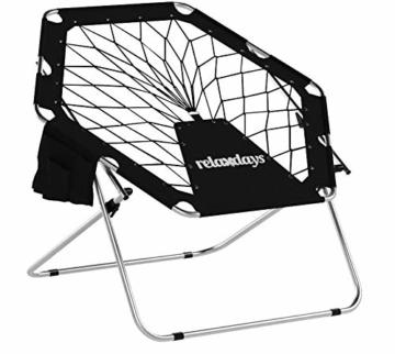 Relaxdays Bungee Stuhl WEBSTER, elastisch, Faltbar, bis 100 kg, Seitentasche, Outdoor Gartenstuhl, Klappstuhl, Schwarz - 2