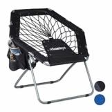 Relaxdays Bungee Stuhl WEBSTER, elastisch, Faltbar, bis 100 kg, Seitentasche, Outdoor Gartenstuhl, Klappstuhl, Schwarz - 1