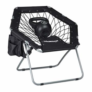 Relaxdays Bungee Stuhl WEBSTER, elastisch, Faltbar, bis 100 kg, Seitentasche, Outdoor Gartenstuhl, Klappstuhl, Schwarz - 3