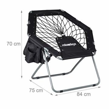 Relaxdays Bungee Stuhl WEBSTER, elastisch, Faltbar, bis 100 kg, Seitentasche, Outdoor Gartenstuhl, Klappstuhl, Schwarz - 4