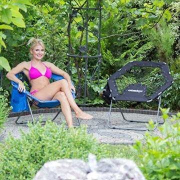 Relaxdays Bungee Stuhl WEBSTER, elastisch, Faltbar, bis 100 kg, Seitentasche, Outdoor Gartenstuhl, Klappstuhl, Schwarz - 5