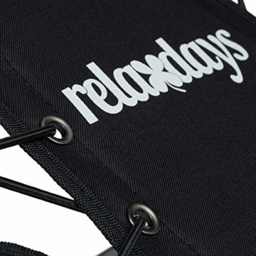 Relaxdays Bungee Stuhl WEBSTER, elastisch, Faltbar, bis 100 kg, Seitentasche, Outdoor Gartenstuhl, Klappstuhl, Schwarz - 9