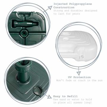 Resol Sonnenschirmständer - Grüner Kunststoff - Zum Befüllen mit Sand/Wasser - 5