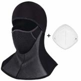 ROTTO Sturmhaube Skimaske Balaclava Sturmmaske für Motorrad Winter Motorradmaske Fleece Wasserdicht Winddicht Thermal Universalgröße (Schwarz-A(mit Reißverschluss)) - 1