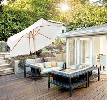 Royal Gardineer Parasol-Sonnenschirm: 2er-Set neigbare Sonnenschirme mit Holzgestell, Ø 3 m, beige (Garten-Sonnenschutz) - 5