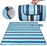SaiXuan Picknickdecke 200 x 200 cm Outdoor Stranddecke wasserdichte sanddichte tolle Picknick-Matte Fleece wärmeisoliert wasserdicht mit Tragegriff (Blaue gestreift) - 1