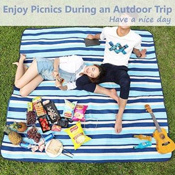 SaiXuan Picknickdecke 200 x 200 cm Outdoor Stranddecke wasserdichte sanddichte tolle Picknick-Matte Fleece wärmeisoliert wasserdicht mit Tragegriff (Blaue gestreift) - 4