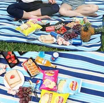 SaiXuan Picknickdecke 200 x 200 cm Outdoor Stranddecke wasserdichte sanddichte tolle Picknick-Matte Fleece wärmeisoliert wasserdicht mit Tragegriff (Blaue gestreift) - 6