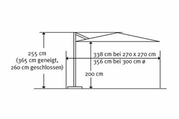 Schneider Premium Sonnenschirm Ampelschirm Rhodos Twist eco, Natur, ca. 270 x 270 cm, 8-teilig, quadratisch - 3