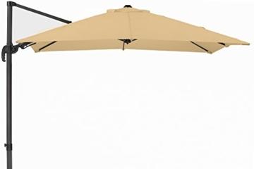 Schneider Premium Sonnenschirm Ampelschirm Rhodos Twist eco, Natur, ca. 270 x 270 cm, 8-teilig, quadratisch - 1