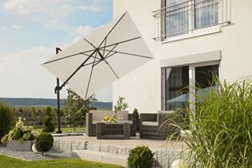 Schneider Premium Sonnenschirm Ampelschirm Rhodos Twist eco, Natur, ca. 270 x 270 cm, 8-teilig, quadratisch - 6